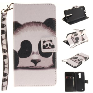Leather Stand Case with Card Slots for LG K8 - Adorable Panda