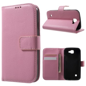 Litchi Skin Magnetic Leather Wallet Case for LG K3 (3G) - Pink