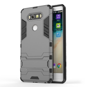 Solid PC + TPU Hybrid Shell Case with Kickstand for LG V20 - Grey