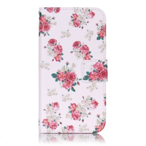 Magnetic Leather Stand Cover for LG X Screen - Elegant Flowers