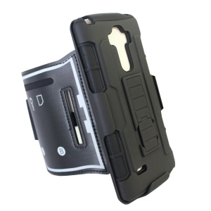 For LG G Stylo LS770 3-in-1 Impact-proof ArmBand PC + Silicone Cover with Kickstand