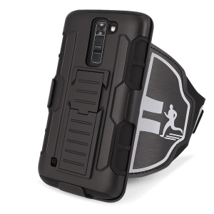 Drop-proof PC + Silicone Kickstand Case with Armband for LG K7/Tribute 5