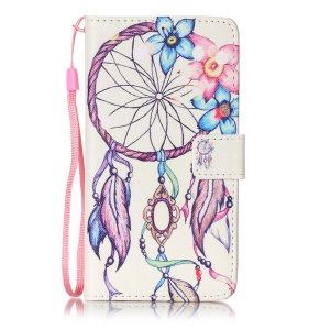 Patterned Wallet Stand Leather Case for LG K7/Tribute 5 - Flower Dreamcatcher