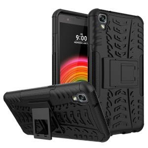 Cool Tyre Kickstand PC + TPU Hybrid Case for LG X Power K220 K220DS - Black