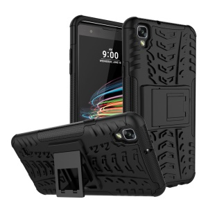 Anti-slip PC + TPU Hybrid Case with Kickstand for LG X Style - Black