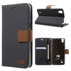 ROAR KOREA Twill Grain Leather Wallet Stand Cover for LG X Power - Black