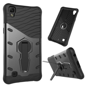 Armor PC + TPU Hybrid Case with Kickstand for LG X Power - Grey