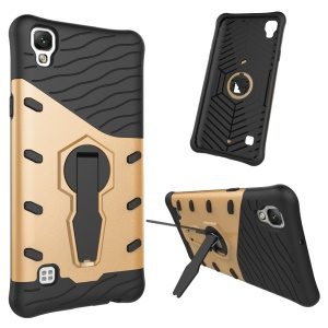 Cool Armor Kickstand PC + TPU Hybrid Phone Casing for LG X Style - Gold