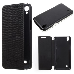 Wake / Sleep Side View Window Leather Folio Protective Case for LG X Power - Black