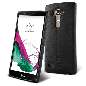 PIERRE CARDIN Genuine Leather Coated PC Case for LG G4 US991 VS986 H810 LS991 H811 - Black