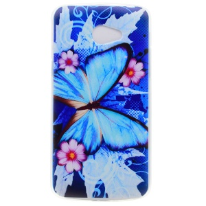 Pattern Printing Soft TPU Mobile Phone Case for LG K5 - Blue Butterfly and Flowers