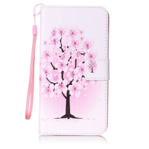 Patterned Leather Wallet Case with Strap for LG G Stylo LS770 - Pretty Plum Flower