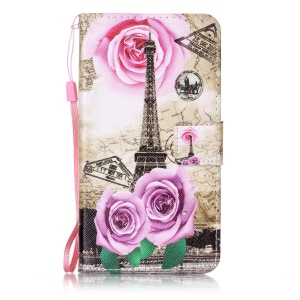 Pattern Printing Wallet Leather Cover for LG X Power K220 K220DS - Eiffel Tower and Roses
