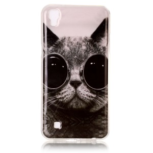 Pattern Printing IMD TPU Shell for LG X Power K220 K220DS - Adorable Cat Wearing Glasses