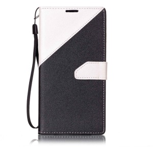 Splicing Two-tone Leather Wallet Case for LG Stylus 2/G Stylo 2 LS775 /Stylus 2 Plus/Stylo 2 Plus - White