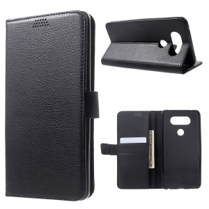 Litchi Skin Wallet Leather Stand Case for LG V20 - Black