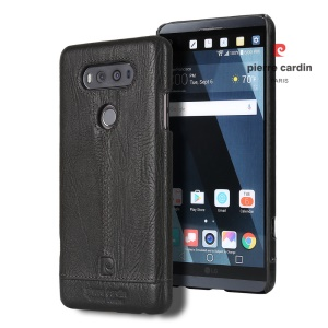 PIERRE CARDIN para LG V20 Stitched Genuine Leather Coated Plastic Case - negro