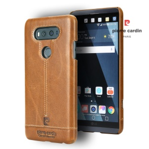 PIERRE CARDIN for LG V20 Stitched Genuine Leather Coated PC Phone Cover - Brown