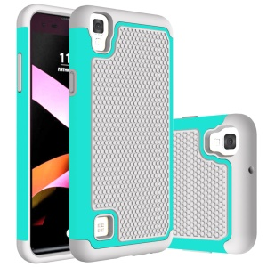 Football Grain PC + TPU Phone Case Accessory for LG X Style - Grey / Cyan