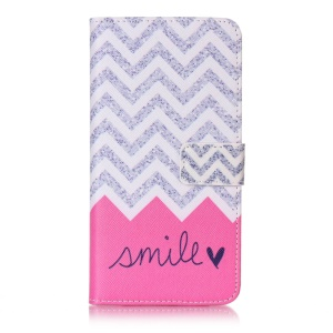 Patterned Wallet Mobile Cover for LG X Power K220 K220DS (PU Leather + TPU) - Chevrons and Smile
