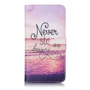 Patterned Folio Mobile Casing (PU Leather + TPU) for LG X Power K220 K220DS - Never Stop Dreaming