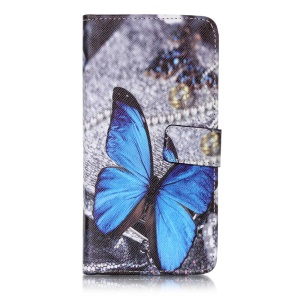 Patterned Cellphone Case Leather Shell for LG X Power K220 K220DS with Card Holder - Blue Butterfly