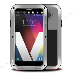 LOVE MEI for LG V20 Powerful Mobile Cover Shockproof Drop-proof Dust-proof (Metal + Silicone + Tempered Glass) - Silver