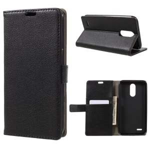 For LG V5 Litchi Texture Flip Stand Wallet Leather Cover Case - Black