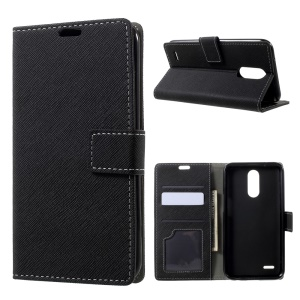 For LG V5 Magnetic Flip Stand Leather Wallet Case Cross Texture - Black