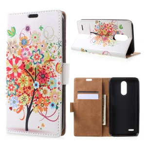 Pattern Printing Phone Case Leather Stand Wallet for LG V5 - Colorful Flowers Tree