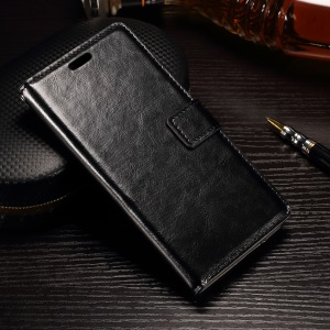 Crazy Horse Leather Wallet Phone Case for LG X Power K220 K220DS - Black