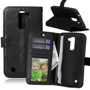 Multi Photo/Card Slots Crazy Horse Leather Cell Phone Case for LG K10 - Black