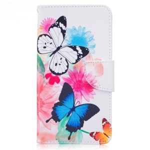 Patterned Leather Wallet Case for LG Stylus 2/G Stylo 2 LS775 /Stylus 2 Plus/Stylo 2 - Butterflies with Flowers
