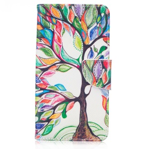 Patterned Wallet Leather Protective Cover for LG Stylus 2/G Stylo 2 LS775 /Stylus 2 Plus/Stylo 2 - Colorized Tree