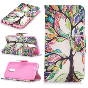 Pattern Printing Wallet Leather Stand Case for LG K10 (2017) - Colorized Tree