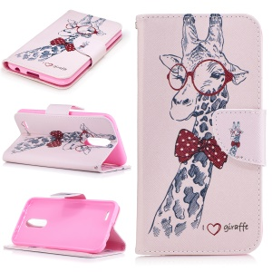 Pattern Printing Leather Wallet Cover Flip Case for LG K10 (2017) - Cute Giraffe Wearing Glasses