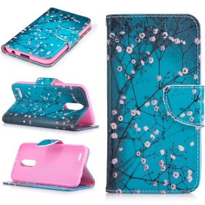 Pattern Printing PU Leather Stand Case for LG K10 (2017) - Tree with Flowers