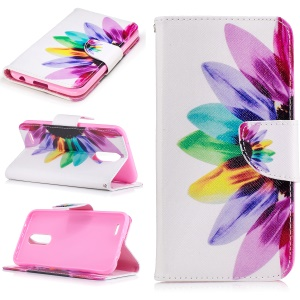 Pattern Printing Wallet Leather Case with Stand for LG K10 (2017) - Colorful Petals