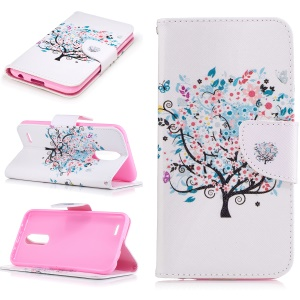 Pattern Printing Leather Case Wallet for LG K10 (2017) - Flowered Tree
