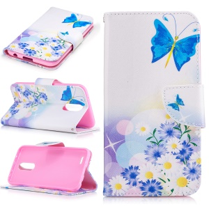 Pattern Printing Wallet Leather Mobile Phone Case for LG K10 (2017) - Blue Butterflies and Flowers