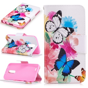 Pattern Printing Protective Leather Stand Case for LG K10 (2017) - Vivid Butterflies