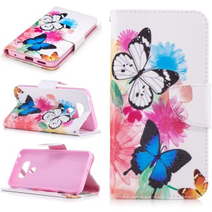 Pattern Printing Wallet Leather Stand Cover for LG G6 - Vivid Butterflies