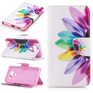 Pattern Printing Wallet Leather Mobile Phone Case for LG G6 - Colorized Petals