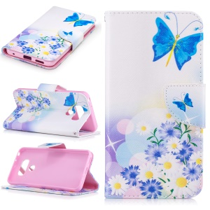 Pattern Printing Leather Stand Case with Card Slots for LG G6 - Blue Butterflies and Flowers