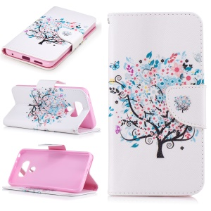 Pattern Printing Leather Stand Cover with Card Slots for LG G6 - Flowered Tree