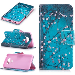 Pattern Printing Wallet Leather Case with Stand for LG G6 - Tree with Flowers