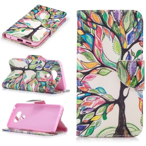 Pattern Printing Leather Wallet Cover Case for LG G6 - Colorful Tree