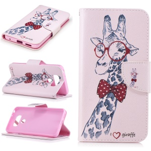 Pattern Printing Wallet Leather Protective Case for LG G6 - Cute Giraffe Wearing Glasses