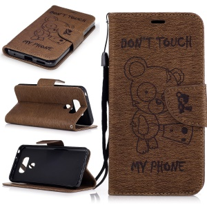 Imprinted Bear Leather Mobile Shell Wallet with Lanyard for LG G6 - Brown