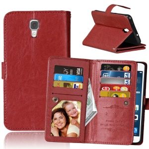 Multi 9 Card Slots Crazy Horse Leather Magnetic Cover for LG X Screen K500N K500Y - Brown